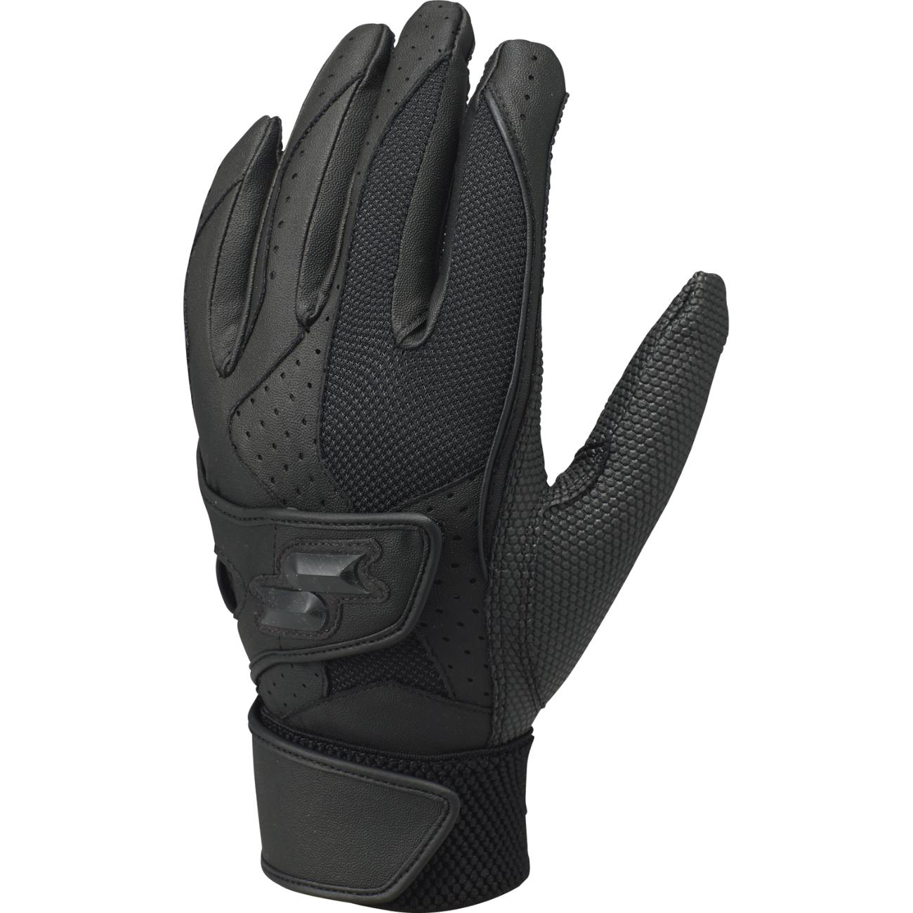 高校野球対応ダブルバンド手袋(両手) ブラック