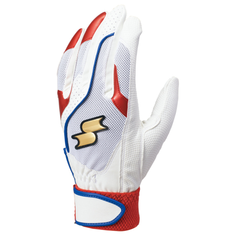 SSKBASEBALL一般用シングルバンド手袋(両手) ホワイト×レッド×ブルー