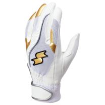 SSKBASEBALL一般用シングルバンド手袋(両手) ホワイト×ゴールド×シルバー