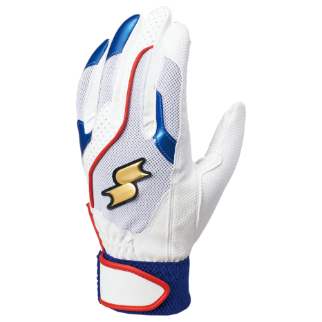 SSKBASEBALL一般用シングルバンド手袋(両手) ホワイト×ブルー×レッド