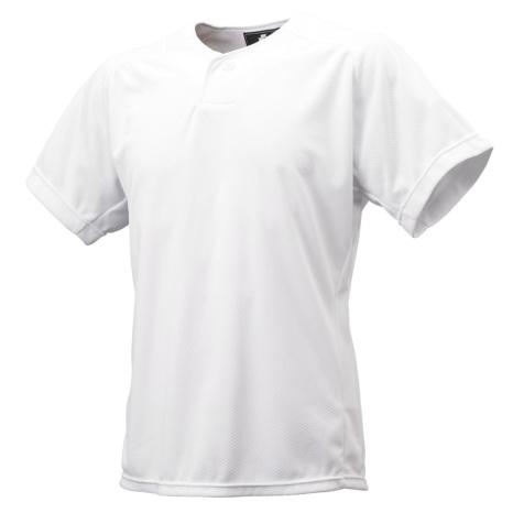 UVカット:ジュニア1ボタンベースボールTシャツ ホワイト