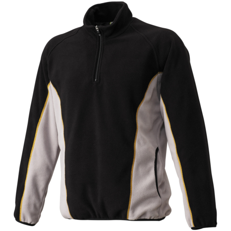 SSKBASEBALLフリースジャケット ハーフZIP長袖(裏タフタ) ブラック×Sグレー
