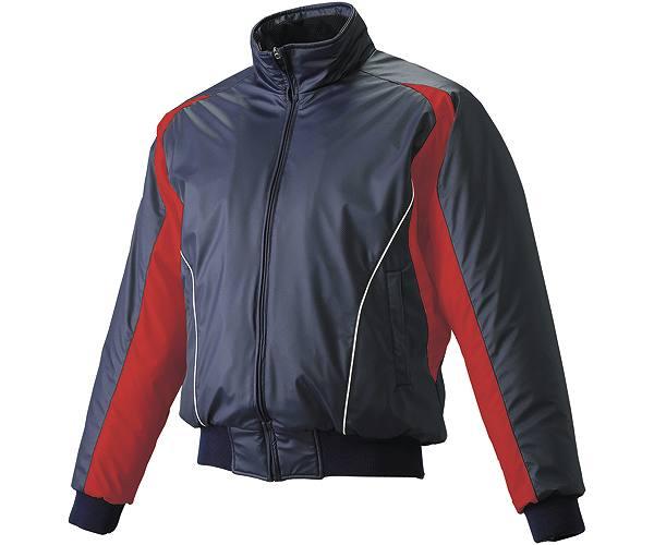 SSKBASEBALLジュニア 蓄熱グラウンドコート フロントフルZIP(中綿) ネイビー×レッド×ホワイト