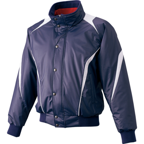 SSKBASEBALL蓄熱グラウンドコート フロントフルZIP+ボタン比翼付き(中綿) ネイビー×シルバーグレー