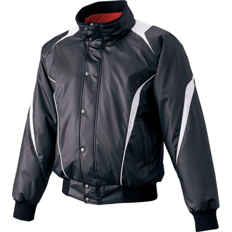 SSKBASEBALL蓄熱グラウンドコート フロントフルZIP+ボタン比翼付き(中綿) ブラック×シルバーグレー