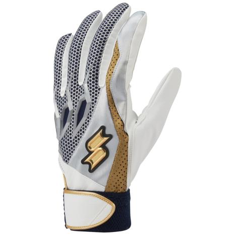 SSKBASEBALL【proedge(プロエッジ)】一般用シングルバンド手袋(両手) ホワイト×ネイビー×ゴールド