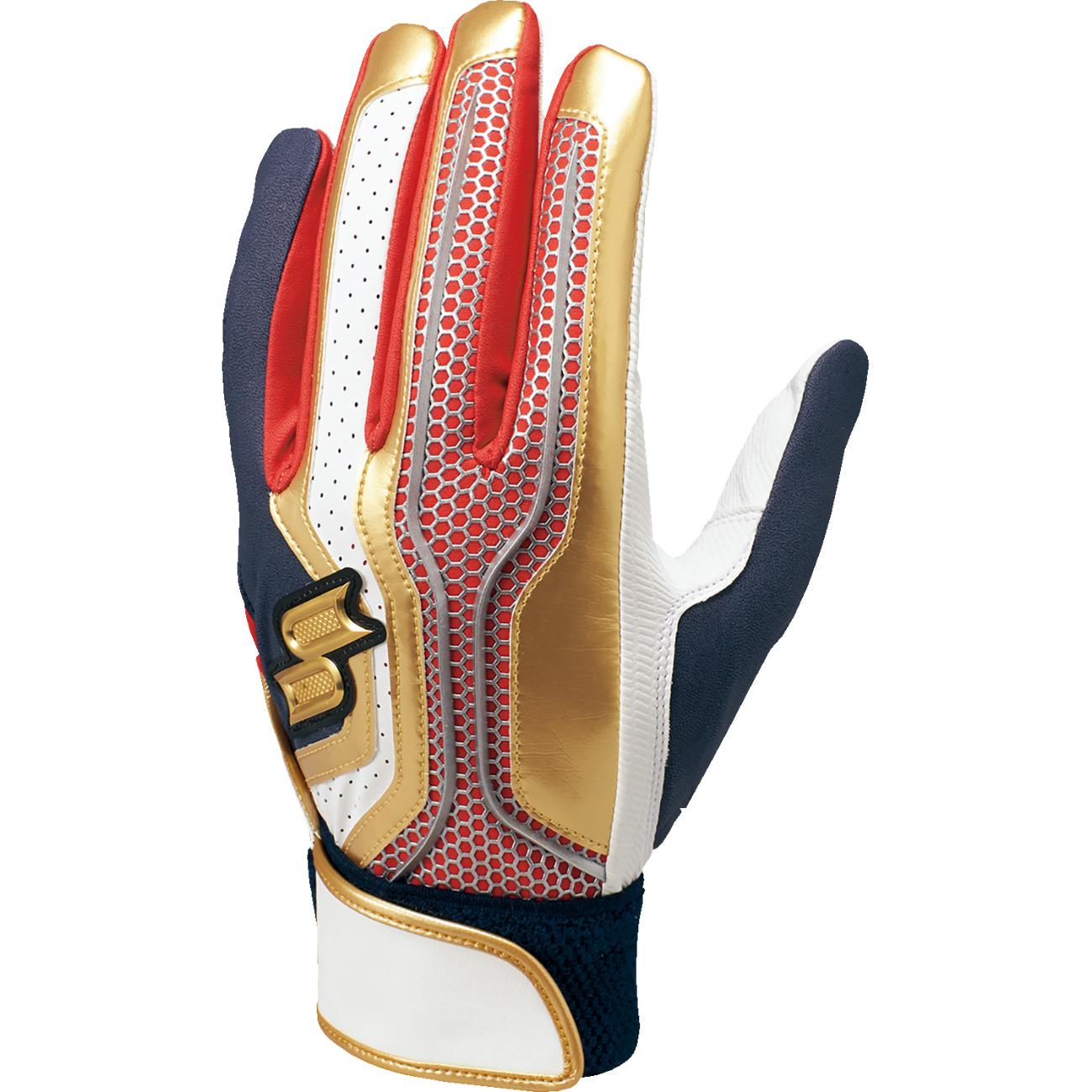 【proedge(プロエッジ)】一般用シングルバンド手袋(両手) レッド×ネイビー×ゴールド