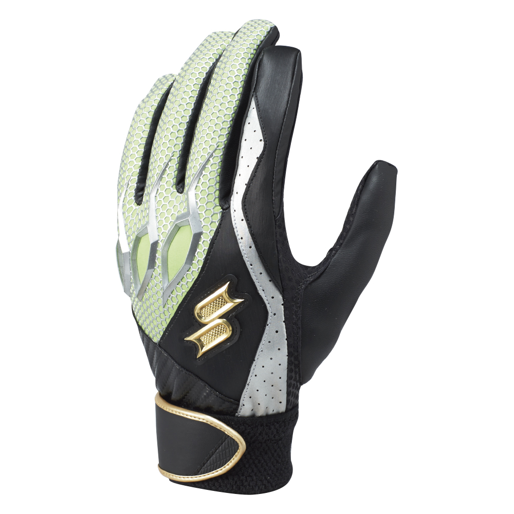 SSKBASEBALL【proedge(プロエッジ)】一般用シングルバンド手袋(両手) ブラック×グリーン
