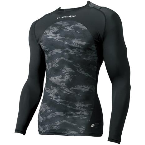 21春夏NEW【proedge(プロエッジ)】トレーニングインナーシャツ ブラック×ブラックTC