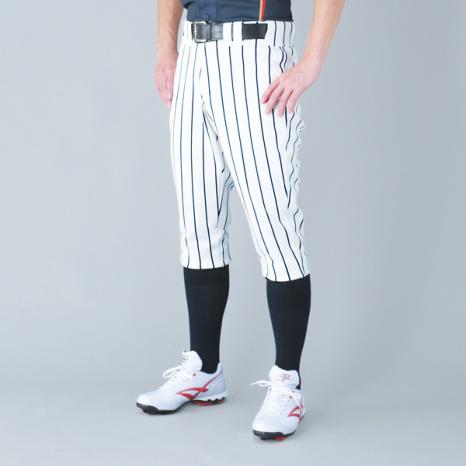 SSKBASEBALLストライプショート丈パンツ ホワイト×ネイビー