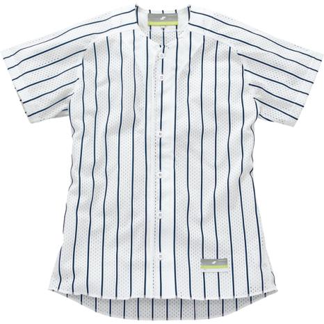 SSKBASEBALLストライプメッシュシャツ ホワイト×ネイビー