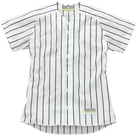 SSKBASEBALLストライプメッシュシャツ ホワイト×ブラック
